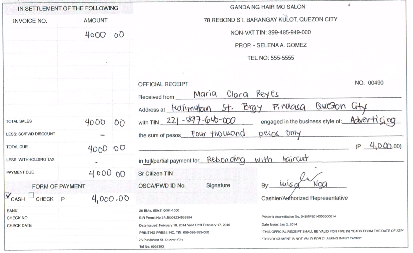 How to Write a NonVAT Official Receipt – Official Receipt Template